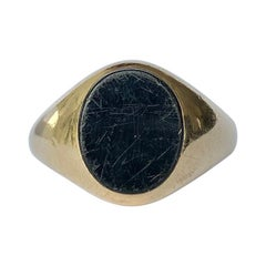 Vintage Onyx and 9 Carat Gold Signet Ring