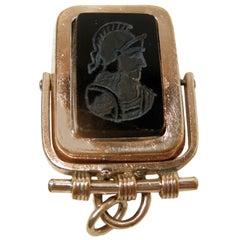 Vintage Onyx & Carnelian Gold Filled Intaglio Locket Pendant