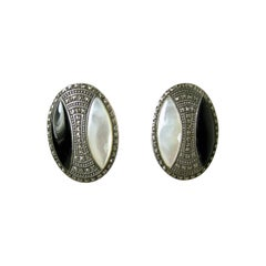 Vintage Onyx, Marcasites & Mother of Pearl Sterling Silver Earrings