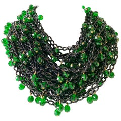 Vintage OOAK Japanned Faux Emerald Statement Bib Necklace