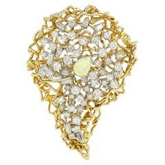 Vintage Opal 4.60 Carats Diamonds 18 Carats Yellow Gold Brooch/ Pendant