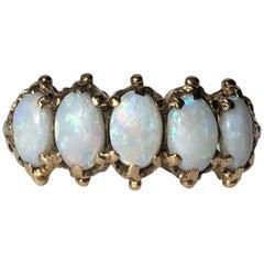 Vintage Opal 9 Carat Gold Five-Stone Ring