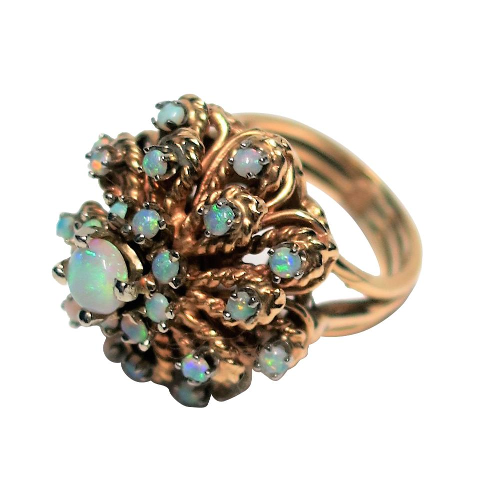 Opal and 14-Karat Yellow Gold Cocktail Ring, ca. 1960s