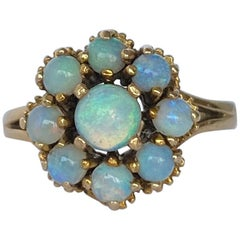 Vintage Opal and 9 Carat Gold Cluster Ring