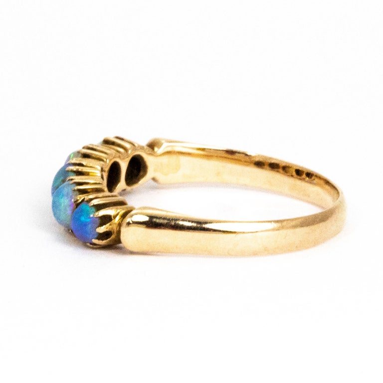 Modern Vintage Opal and 9 Carat Gold Five-Stone Ring For Sale