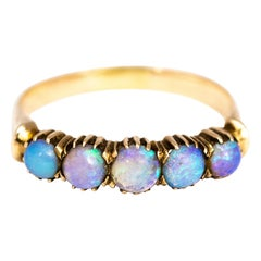 Vintage Opal and 9 Carat Gold Five-Stone Ring