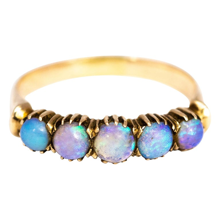 Vintage Opal and 9 Carat Gold Five-Stone Ring For Sale