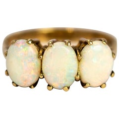Vintage Opal and 9 Carat Gold Three-Stone Ring