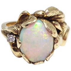 Vintage Opal and Diamond 14 Karat Floral Ring by Strell, Size US 6
