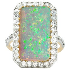 Vintage Opal and Diamond Cluster Ring