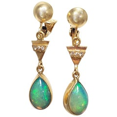 Vintage Opal and Diamond Dangling Teardrop Clip-On Earrings in 14 Karat Gold
