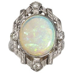 Vintage Opal Diamond and Platinum Ring, circa 1950