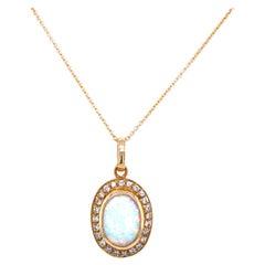 Vintage Opal Diamond Gold Pendant Necklace
