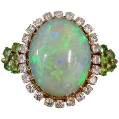Vintage Opal, Diamond and Peridot Ring