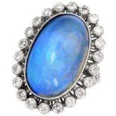 Vintage Opal Diamond Platinum Cocktail Fashion Ring