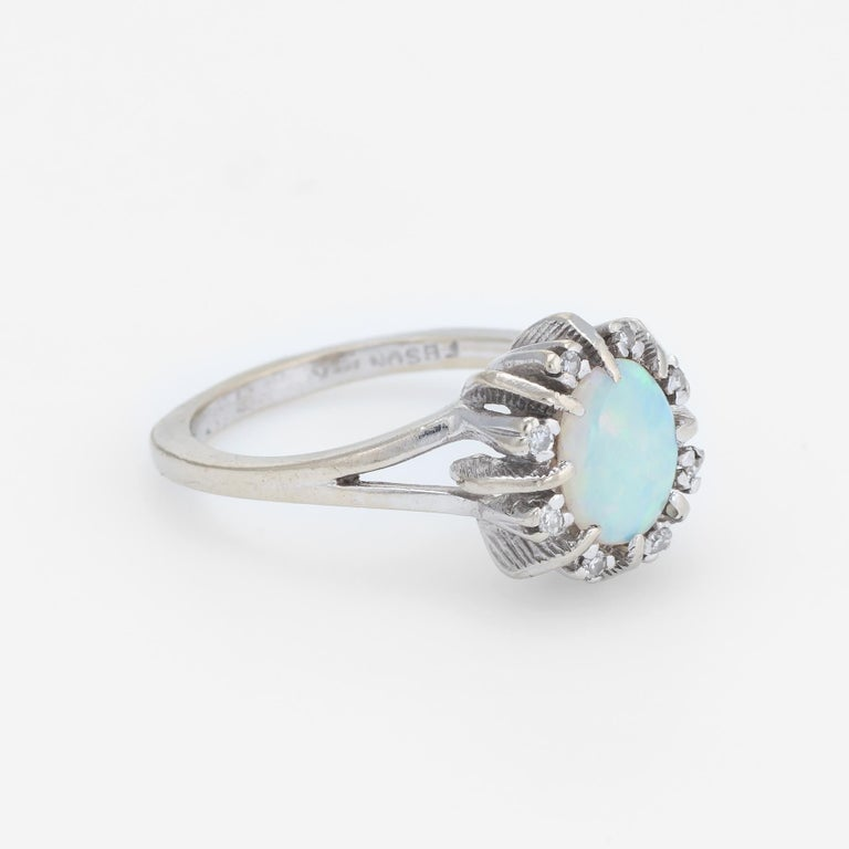 Modern Vintage Opal Diamond Ring 14 Karat White Gold Small Cocktail Estate Jewelry For Sale