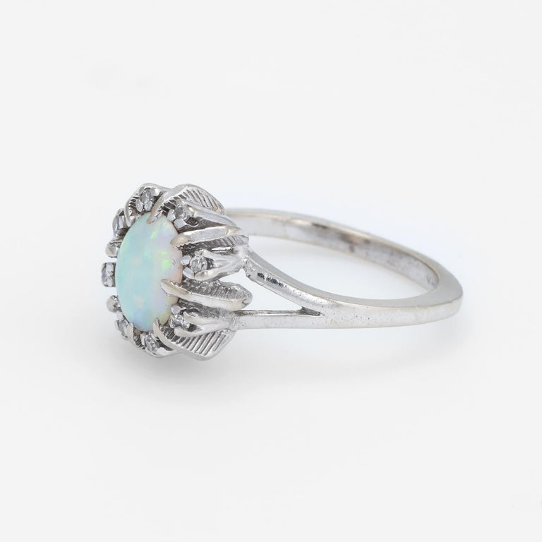 Oval Cut Vintage Opal Diamond Ring 14 Karat White Gold Small Cocktail Estate Jewelry For Sale