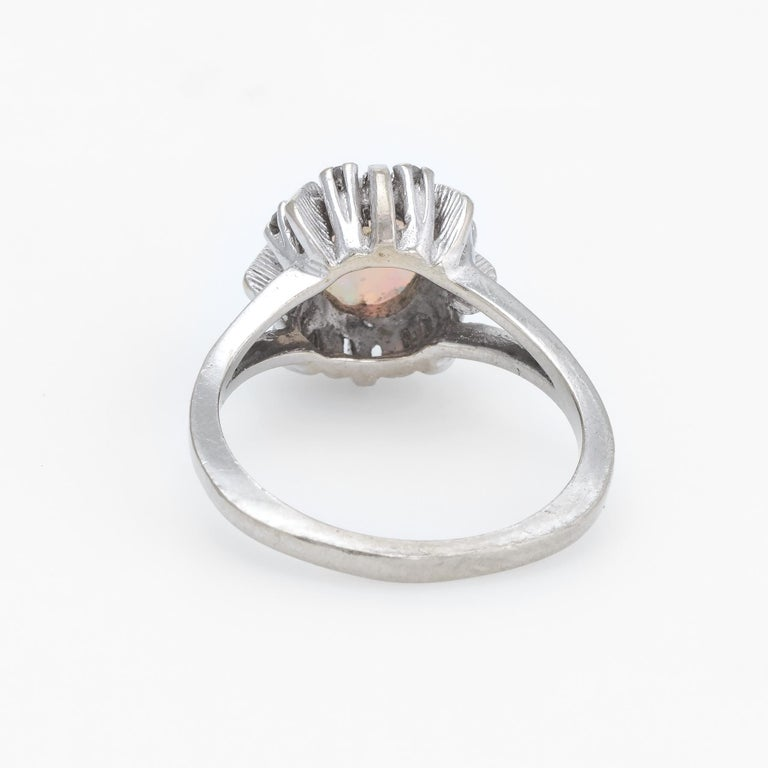 Vintage Opal Diamond Ring 14 Karat White Gold Small Cocktail Estate Jewelry In Excellent Condition For Sale In West Hills, CA