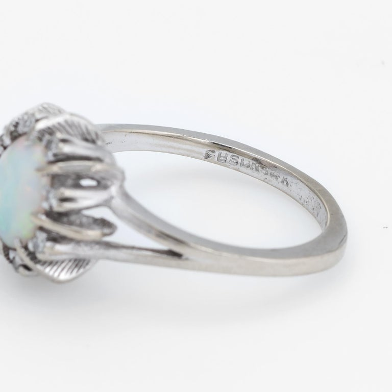 Vintage Opal Diamond Ring 14 Karat White Gold Small Cocktail Estate Jewelry For Sale 1