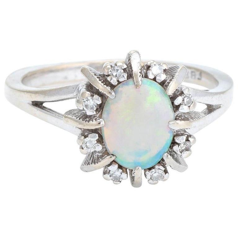 Vintage Opal Diamond Ring 14 Karat White Gold Small Cocktail Estate Jewelry For Sale