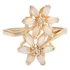 Vintage Opal Diamond Ring Double Flower Toi et Moi 14 Karat Gold Estate 10