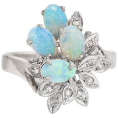 Vintage Opal Diamond Ring Spray 10 Karat White Gold Estate Fine Jewelry