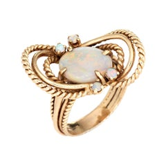 Vintage Opal Ring 14k Yellow Gold Celestial Planets Fine Estate Jewelry