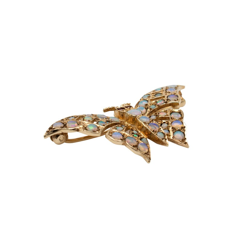 Art Deco Gold Butterfly Brooch With Natural Opals & Rubies Hallmarked London 1985 For Sale