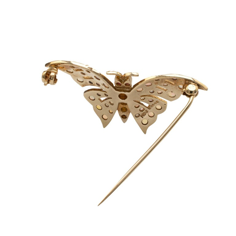 Round Cut Gold Butterfly Brooch With Natural Opals & Rubies Hallmarked London 1985 For Sale