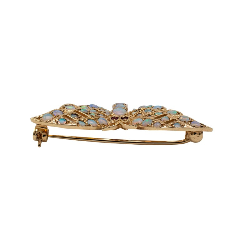 Gold Butterfly Brooch With Natural Opals & Rubies Hallmarked London 1985 In Good Condition For Sale In Preston, Lancashire