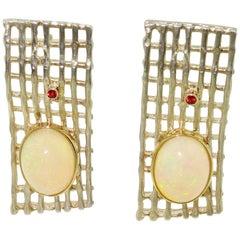 Vintage Opal Sapphire Rhodium Sterling Silver Gold Earrings Estate Fine Jewelry
