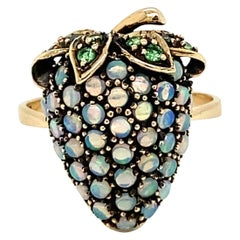 Vintage Opal Tsavorite Strawberry Design Ring