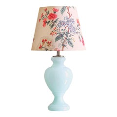 Vintage Opaline Glass Table Lamp in Turquoise, Denmark, Late 20th Century