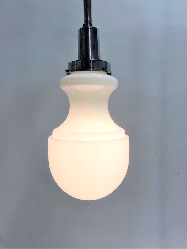 Vintage Opaline Pendant Light, 1950s 7