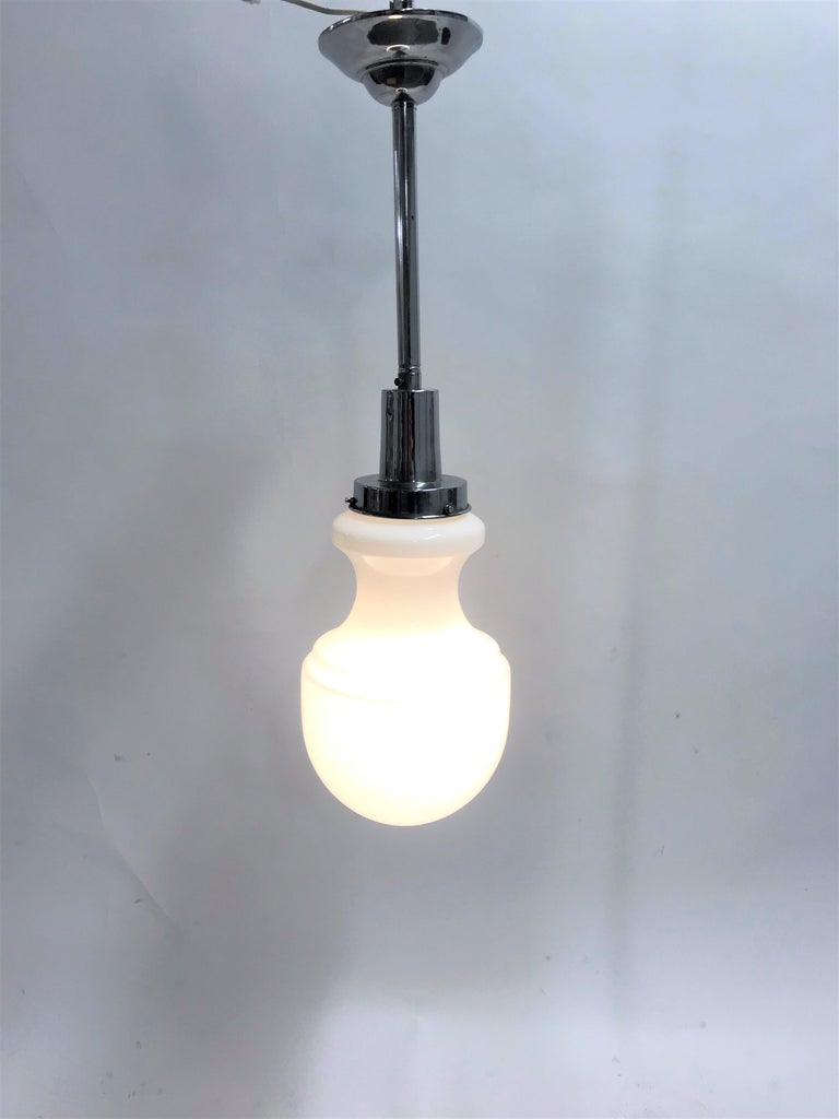 Vintage Opaline Pendant Light, 1950s 8
