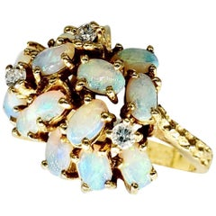 Vintage Opals and Diamonds 14 Karat Gold Cluster Ring