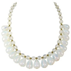 Vintage Opaque Clear Glass Bib Tear Drop Vintage Necklace 1940s