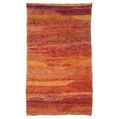 Vintage Open Field Orange Berber Carpet