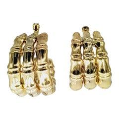 Vintage Opera 18 Karat Tri-Color Bamboo Hoop Earrings
