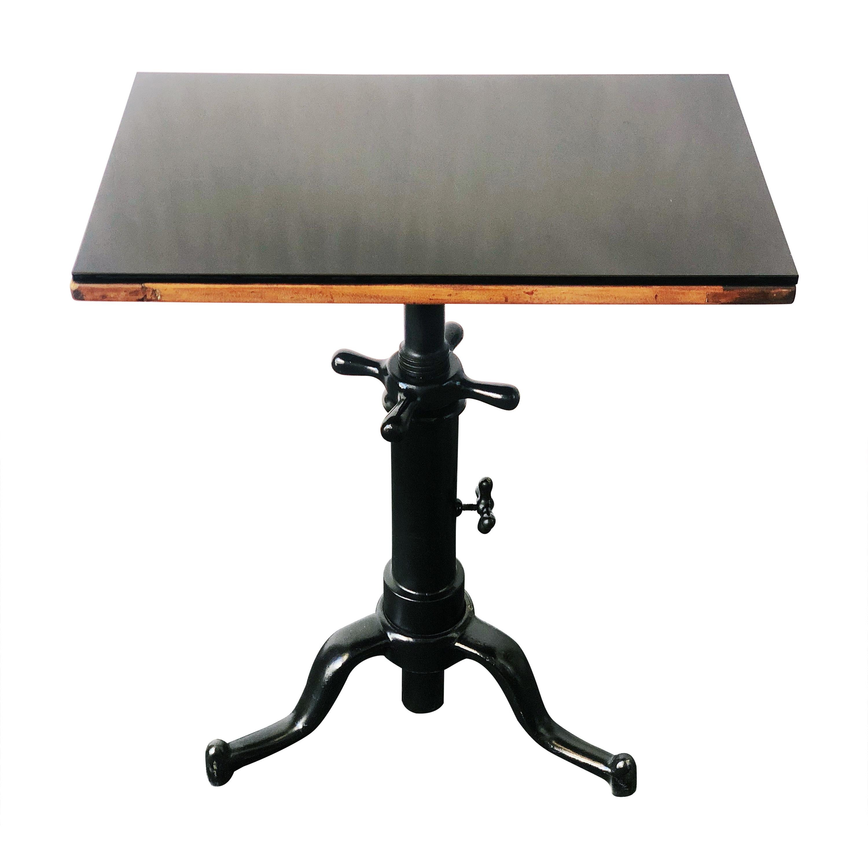 Vintage Optometrist Swivel Table with Black Glass Top and Cast Iron Base, 1940s