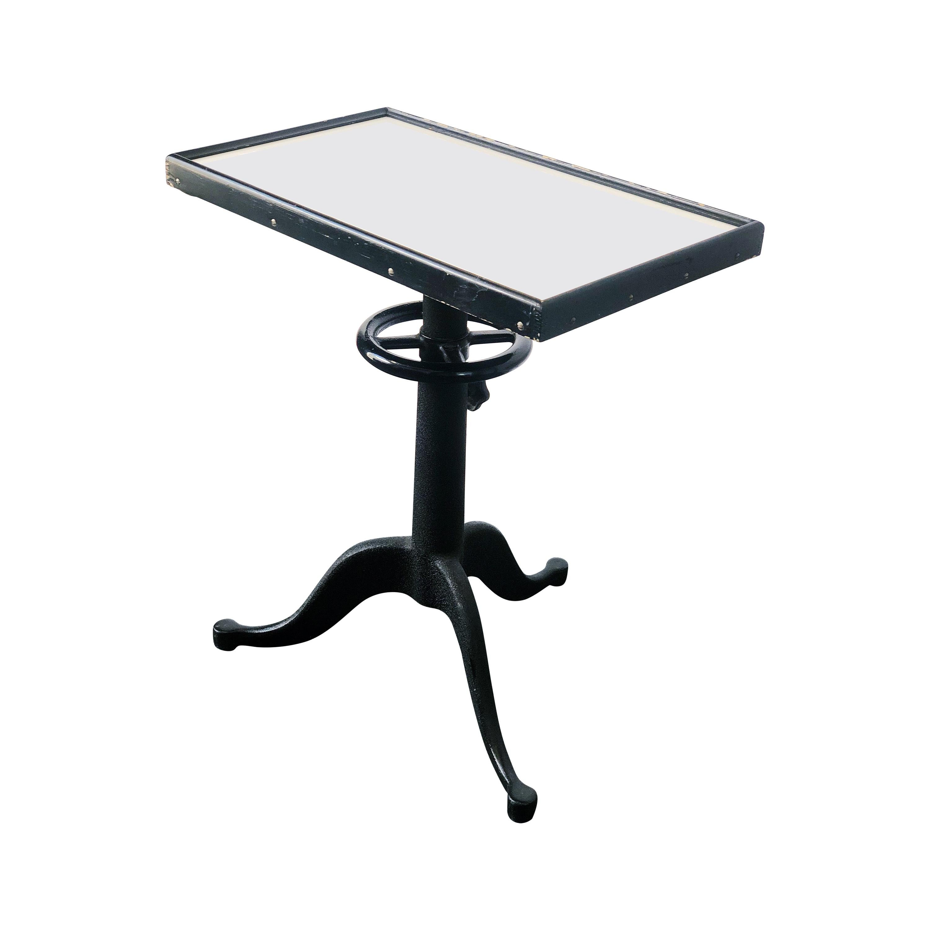 Vintage Optometrist Table with Opaque White Glass Top by Bausch & Lomb, c. 1940s