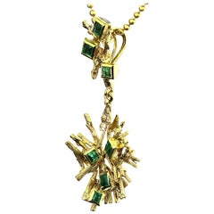 Vintage or Retro Emerald Set Abstract Pendant in 18 Carat Yellow Gold
