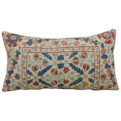 Vintage Orange and Blue Embroidered Suzani Decorative Bolster Pillow