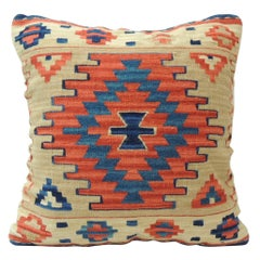 Vintage Orange and Blue Kilim Decorative Pillow