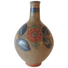 Vintage Orange and Blue Mexican Tonala Decorative Pottery Vase