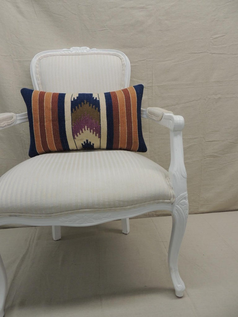 Vintage Orange and Blue Navajo Style Woven Decorative Lumbar Pillow In Good Condition For Sale In Oakland Park, FL