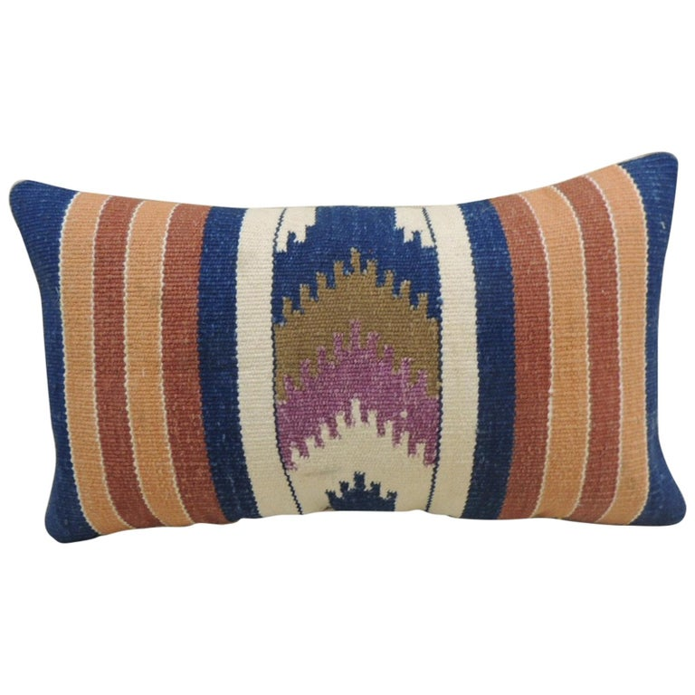 Vintage Orange and Blue Navajo Style Woven Decorative Lumbar Pillow For Sale