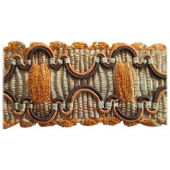 Vintage Orange and Brown Braided Gimp Silk Decorative Trim