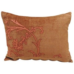 Vintage Orange and Brown Embroidery Bolster Decorative Pillow
