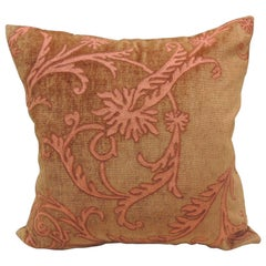 Vintage Orange and Brown Embroidery Square Decorative Pillow